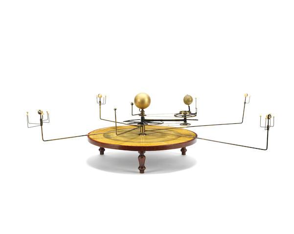 A Newton & Co finger orrery or planetarium/tellarium,  English,  mid 19th century,