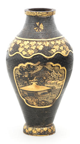An inlaid-iron ovoid vase By Asai of Kyoto, Meiji era (1868-1912), late 19th/early 20th century