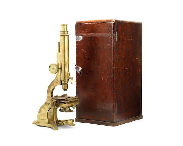A Moritz Pillischer compound monocular microscope, circa 1860