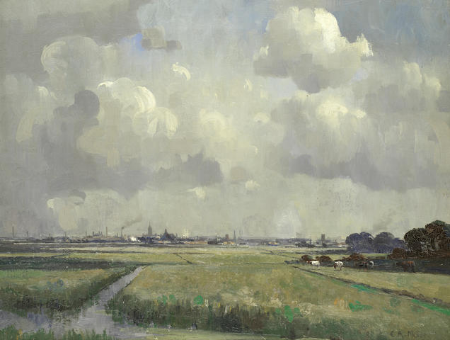 Campbell Archibald Mellon (British, 1876-1955) Looking over Flatford Marshes towards Great Yarmouth