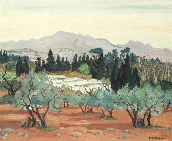 Yves Brayer (French, 1907-1990) 'Oliviers aux Baux-de-Provance' (painted in 1971)