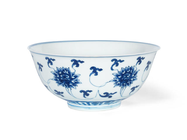 A blue and white 'lotus' bowl Kangxi six-character mark and of the period