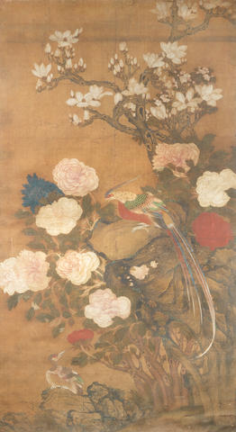 A large painting of pheasant and flowers 18th century