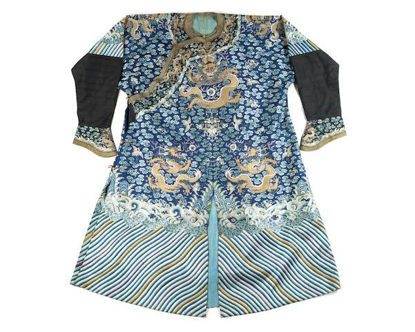A blue silk embroidered semi-formal 'dragon' robe, jifu 19th century