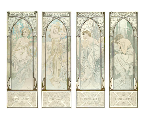 Alphonse Mucha (Czech, 1860-1939); 'TIMES OF THE DAY' (Les Heures du jour) A SET OF FOUR LITHOGRAPH POSTERS  PRINTED FACSIMILE SIGNATURES; 1899