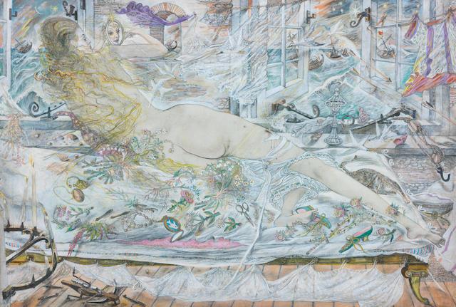 David Jones (British, 1895-1974) The Lee Shore 38 x 57 cm. (14 7/8 x 22 3/8 in.)  (Painted in 1961)