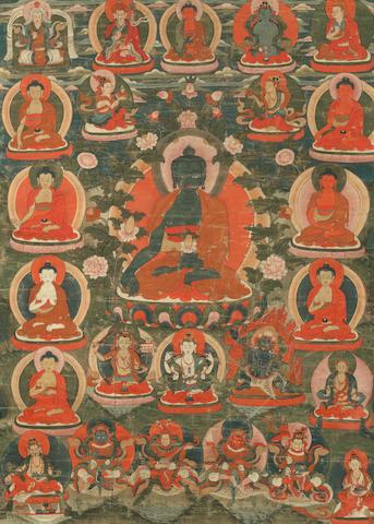A thangka of the Medicine Buddha Tibet, 19th century