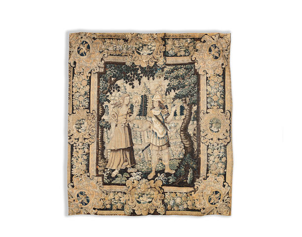A Flemish verdure tapestry Late 16th/early 17th century  313cm x 307cm