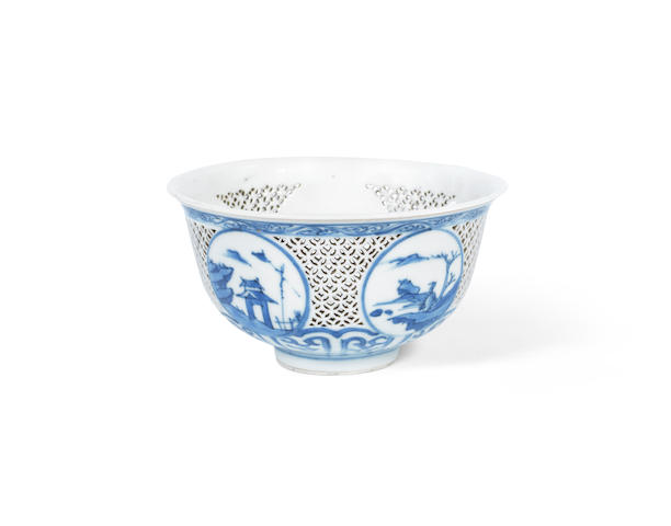 A blue and white reticulated bowl 17th century