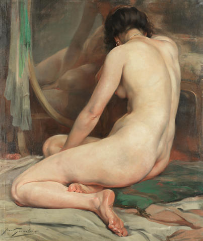 Jean Leon Henri Gouweloos (Belgian, 1865-1943) A seated nude before a mirror