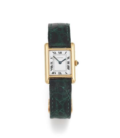 Cartier. A lady's 18K gold manual wind rectangular wristwatch  Tank, London Import mark for 1975