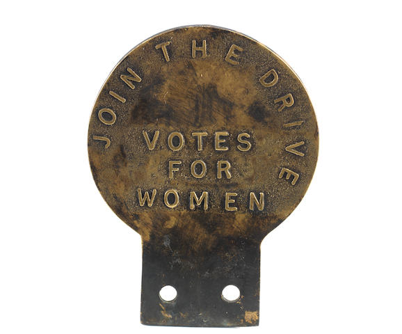 A rare Women's Social and Political Union 'Suffragettes' brass car badge, circa 1910,