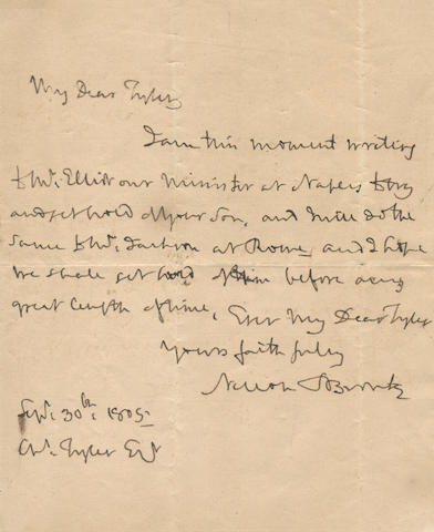 "NELSON (HORATIO) Autograph letter signed (""Nelson & Bronte""), to Captain Charles Tyler (""My Dear Tyler""), [Victory], 30 September 1805"