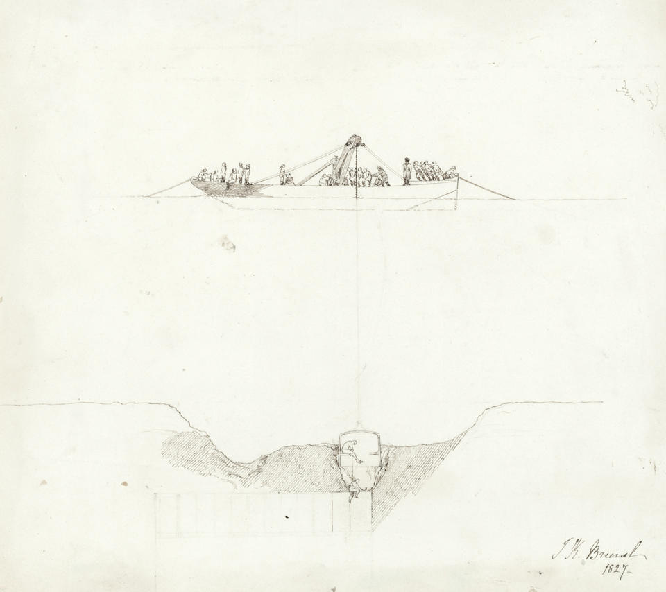 BRUNEL (MARC ISAMBARD) Archive of designs for and watercolours of the Thames Tunnel by Marc Isambard Brunel, Chief Engineer and instigator of the project, by his son Isambard Kingdom Brunel, Resident Engineer, Joseph Pinchback, chief mechanical draftsman, Richard Beamish, Assistant Engineer, and others; plus related material
