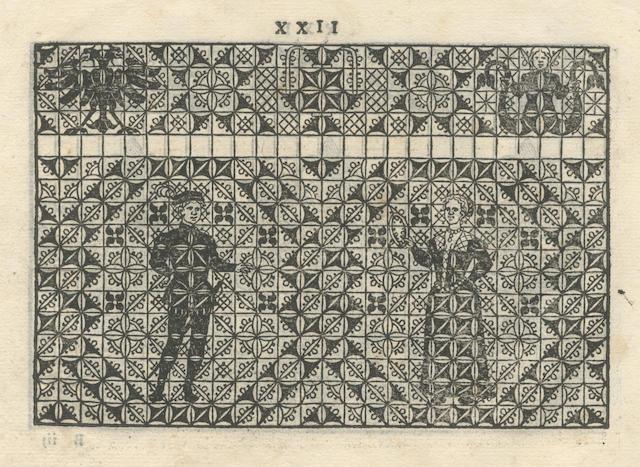 OSTAUS (GIOVANNI) [La vera perfettione del disegno di varie sorti di ricami, & di cucire di ogni sorte di punti à fogliami, punti tagliati, punti à fili, & rimessi, punti incrociati, punti à stuora, & ogn'altra arte, che dia opera à disegni. E di nuovo aggiuntoni varie sorti di merli, e mostre che al presente sono in uso & in pratica], [Venice, Francesco di Franceschi, 1591 or later?]; sold as a collection of leaves not subject to return