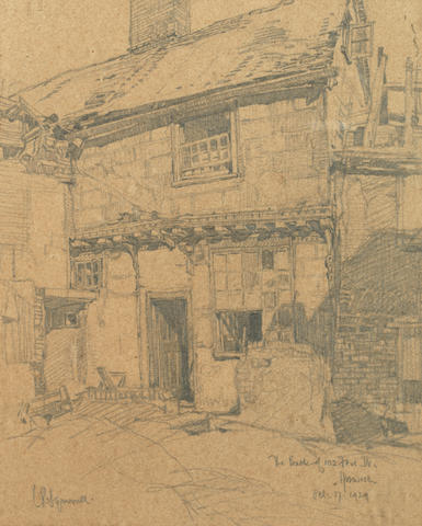 Leonard Russell Squirrell R.W.S., R.I., R.E. (British, 1893-1979) 'The back of 102 Fore Street, Ipswich' (together with three etchings by the same hand (4))