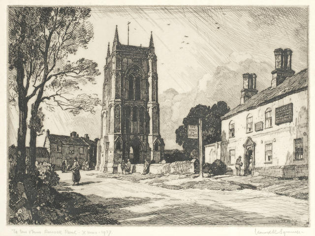 Leonard Russell Squirrell R.W.S., R.I., R.E. (British, 1893-1979) 'At West Walton Inn, Wisbech (together with two inscribed etchings, together with four unframed etchings including Christmas card designs, two Winifred Austin etchings, Harold Thornton and Malcolm Osborne (11))