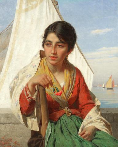Luigi da Rios (Italian, 1844-1892) Portrait of a Venetian beauty