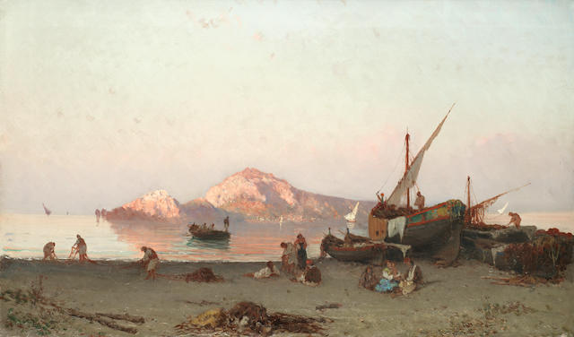Alessandro La Volpe (Italian, 1820-1887) Neapolitan fishermen on the shore