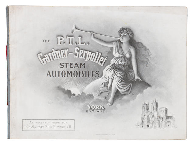"A rare and early sales brochure for ""P.T.L."" Gardner-Serpollet Steam Automobiles, circa 1901,"