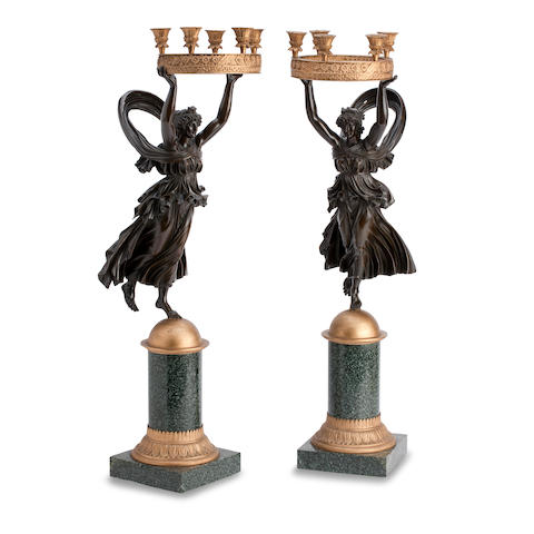 A 19th century pair of bronze and gilt metal candelabra (2)