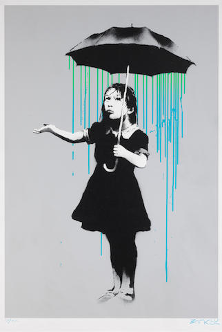 Banksy (British, born 1975) Nola (Blue and Green Rain) Screenprint in colours, 2008, on Arches wove paper, signed and inscribed with a heart AP/01 in blue crayon, a unique unpublished colour variant (the published editions were White Rain and Grey Rain in editions of 289 and 63 respectively; there were also artist's proof editions in Orange Rain and Yellow Rain in editions of 32 and 31 respectively), published by Pictures on Walls, London, the full sheet, in very good conditionSheet 755 x 550mm.