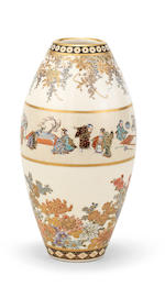 A small Satsuma ovoid elongated vase By Yabu Meizan (1853-1934), Meiji era (1868-1912), late 19th/early 20th century