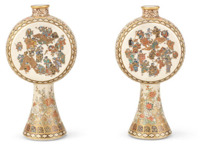 A pair of tall-stemmed satsuma moon flasks By Yabu Meizan (1853-1934), Meiji era (1868-1912), late 19th/early 20th century (2)