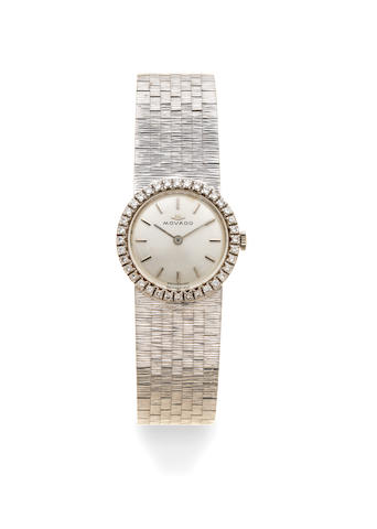 Movado. A lady's 18K white gold and diamond set manual wind bracelet watch Circa 1970