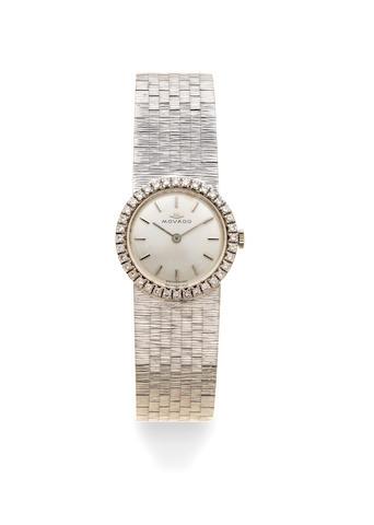 Movado. A lady's 18K white gold and diamond set manual wind bracelet watch Circa 1970