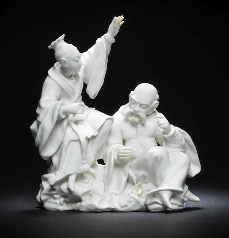 An important Derby 'Dry Edge' figure group, circa 1752-55