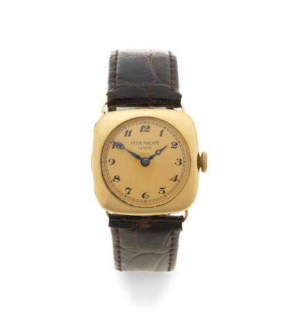 Patek Philippe. An early 18K gold manual wind cushion form wristwatch Circa 1915