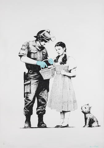 Banksy (British, born 1975) Stop and Search Screenprint in colours, 2007, on Arches 88 paper,  signed and numbered 22/500 in pencil, published by Pictures on Walls, London, with their blindstamp, the full sheet, in very good conditionSheet 765 x 575mm.