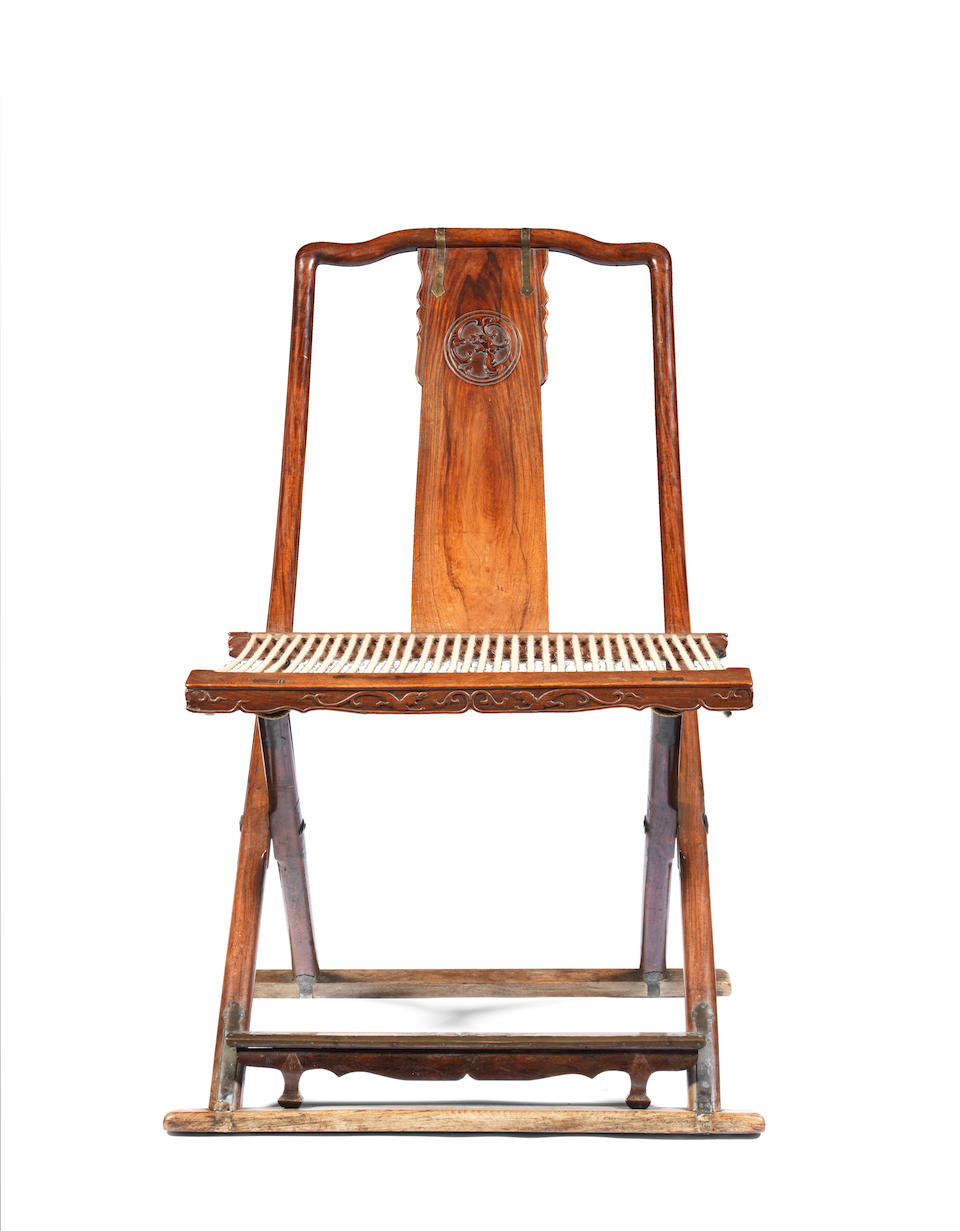 An important and exceptionally rare set of four huanghuali folding chairs, Jiaoyi 16th/17th century (4)