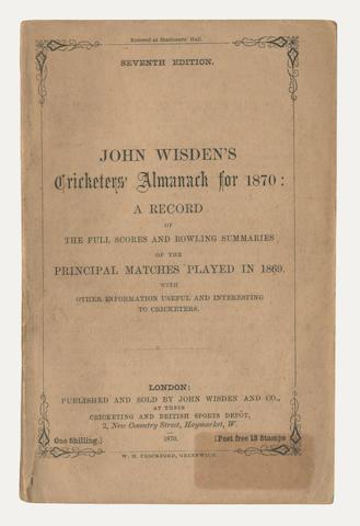 CRICKET WISDEN (JOHN) Cricketer's Almanac for 1870. Seventh Edition, John Wisden & Co., 1870