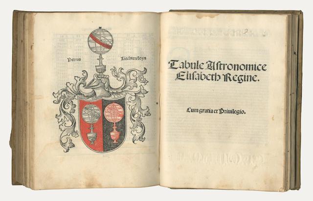 CORDOBA (ALFONSUS DE) Tabule astronomice Elisabeth Regine, FIRST EDITION, Venice, Peter Lichtenstein