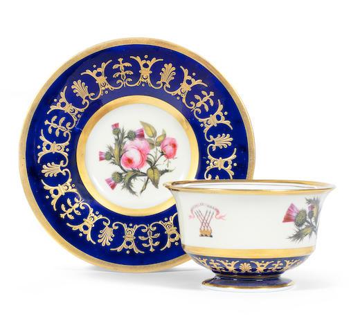 A Flight, Barr and Barr teacup and saucer, circa 1815