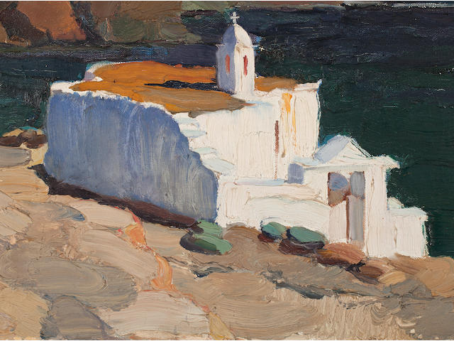 Nikolaos Lytras (Greek, 1883-1927) St. Marcos Church, Tinos island  54 x 73 cm.