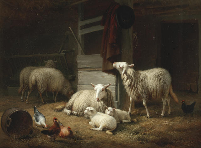 Eugène Verboeckhoven (Belgian, 1798-1881) A barn interior with ewes, lambs and hens