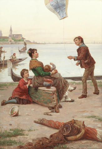 Antonio Ermoao Paoletti (Italian, 1834-1912) Admiring the balloon, Venice