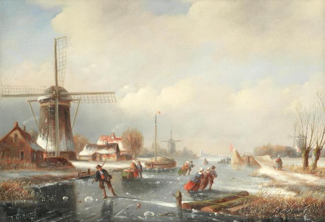 Jacob ten Hagen (Dutch, 1820-1880) Skaters on a frozen river