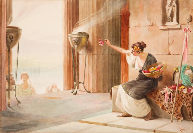 Théodore Jacques Ralli (Greek, 1852-1909) Vendeuse de Fleurs au Parthénon  37 x 53 cm.