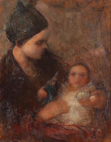 Theofrastos Triantafyllidis (Greek, 1881-1955) Mother and child 42 x 33.5 cm.
