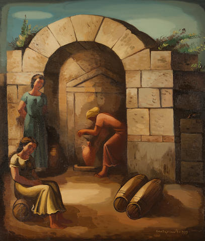 Agenor Asteriadis (Greek, 1898-1977) Girls at the fountain 123 x 105.5 cm.