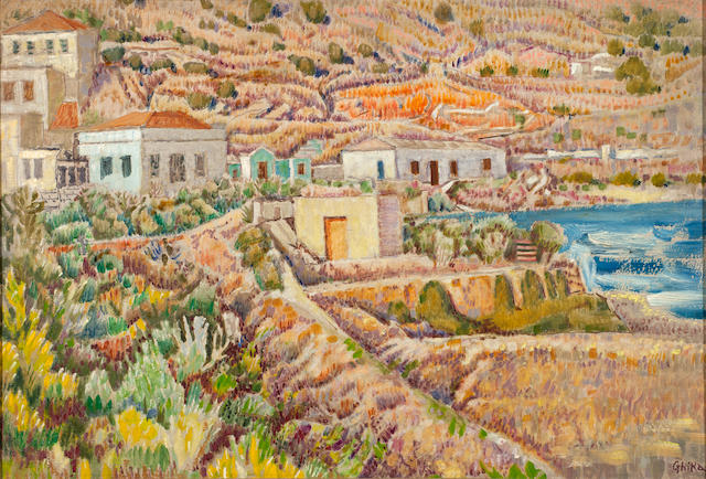 Nikos Hadjikyriakos-Ghika (Greek, 1906-1994) Houses in Hydra 39.5 x 58 cm.
