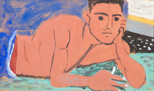 Yiannis Tsarouchis (Greek, 1910-1989) Young man with cigarette laying in bed 17.5 x 30 cm.