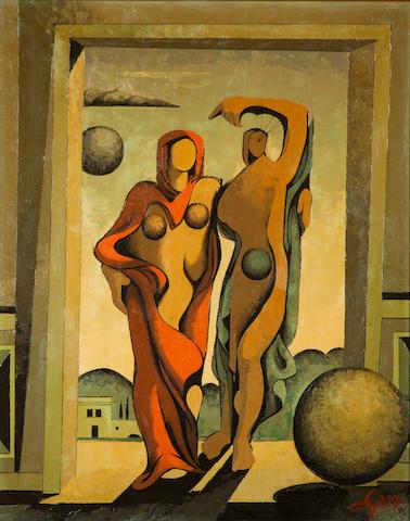 Argyris Stylianidis (Greek, 1909-1998) Figures 91 x 72 cm.