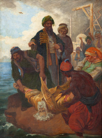 Symeon Savvides (Greek, 1859-1927) The hanging of Patriarch Gregorios the 5th 72 x 53.5 cm.