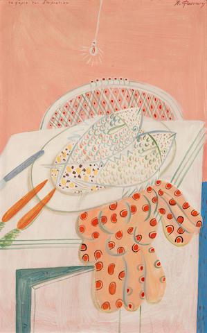 Alecos Fassianos (Greek, born 1935) Fish on the room 78 x 50.5 cm.