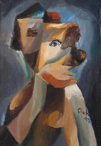 Yannis Gaïtis (Greek, 1923-1984) Femme cubiste 60 x 42 cm.